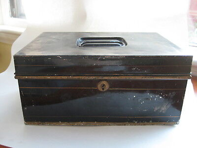 Antique bank enamel METAL BOX vtg black tin cash deed strong tole old lock - key