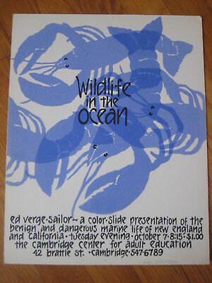 vtg Nikki Schumann BLUE LOBSTER SILKSCREEN crawfish fish art print poster Signed