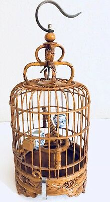 Antique Asian Hand Carved Bamboo Bird Cage With 2 Small Porcelain Cups