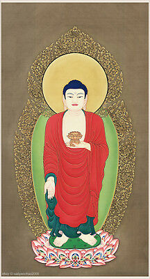 Chinese painting Buddhist theme Amitabha Buddhist standing on lotus stand