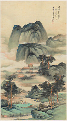 Chinese old scroll painting by Zhang DaQian Mountain landscape figures' story