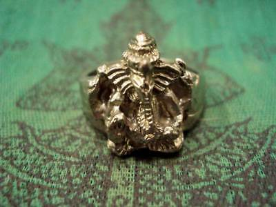 Ring Lord Ganesh Deity Elephent God Jewelry Lucky Om Talisman Thai Amulet