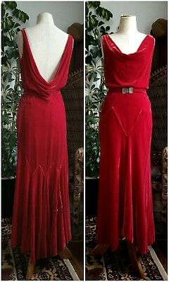 Bombshell Art Deco 1930's Red Hot Silk Velvet Dress Gown Hollywood Pinup Vintage