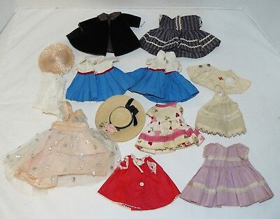 Vintage Lot of Handmade Doll 1950's Clothes,13 Pieces Dresses Hats Capes more