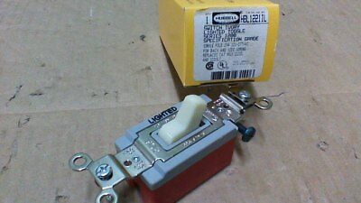 Hubbell Hbl1221Il Lighted Toggle Switch / Spec Grade 1P 20A 120-277Vac / Ivory