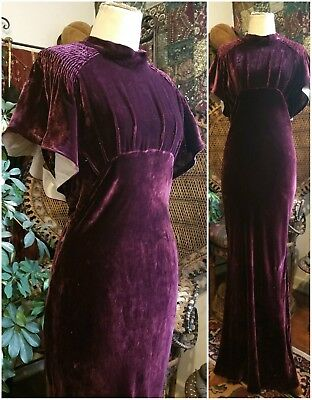 Vintage Art Deco 1930's Amethyst Silk Velvet Dress Gown Hollywood Pinup 30s