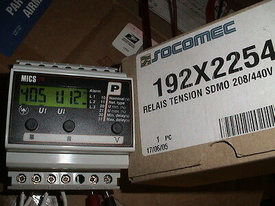 Relais De Sous Tension Ou Surtension Triphase +N 208/440V, Socomec, Ref 192X2254