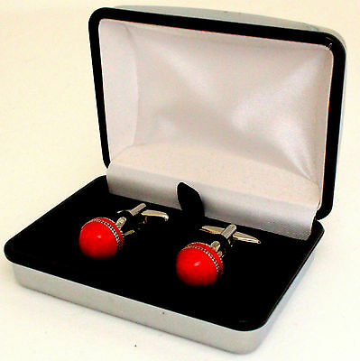 One Pair Red Cricket Ball Silver Plated Novelty Cufflinks In Silver Gift Box
