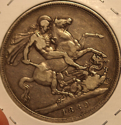 1889 Sterling Crown huge British coin - Great Britain KM 765