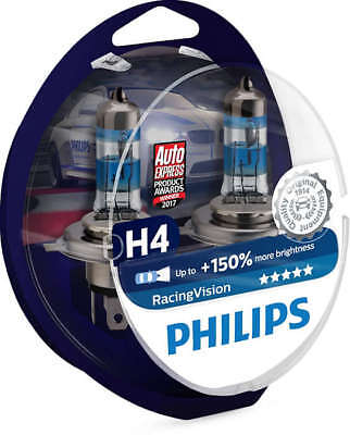 12342Rvs2 - Coppia Lampade H4 Philips - Racing Vision - Luce +150%