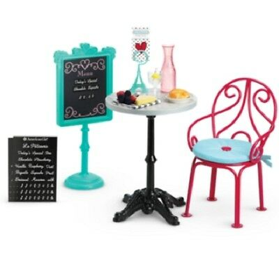 American Girl Grace Thomas BISTRO SET COMPLETE table chair food menu plate glass
