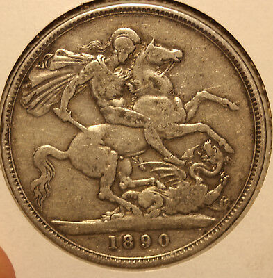 1890 Sterling Crown huge British coin - Great Britain KM 765