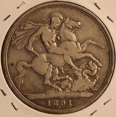 1891 Sterling Crown huge British coin - Great Britain KM 765