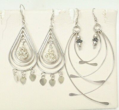 2-Pair Vintage French Wire Sterling Silver Dangle Earrings