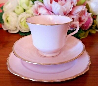 Royal Vale China Pale Pale Pink with Powdered Gilding Vintage Tea Set Trio