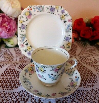 Tuscan China Pretty Ditsy Floral Hand painted Vintage Tea Set Trio