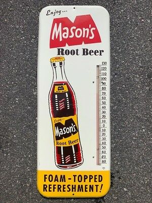 Vintage 1965 Mason's Root Beer Thermometer Sign - Soda Advertising Memorabilia