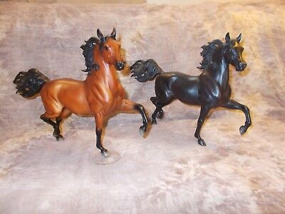Breyer  Sham on Huckleberry Bey & Unknown Black w/ Red Shading Mystery Horse