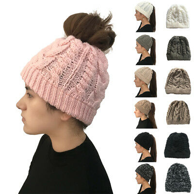 Womens Beanie Ponytail Hole Hair Bun Tail Soft Stretch Knitted Winter Hat Gift