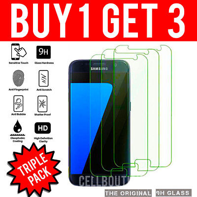 3Pk Gorilla Tempered Glass Lcd Screen Protector For Samsung Galaxy S7