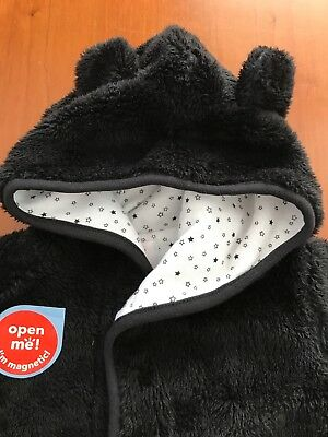 Magnificent Baby NWT Black Plush Bear Jacket 0-6 Months