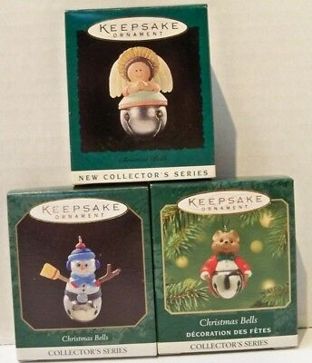 3 Hallmark Keepsake Miniature Ornaments Christmas Bells  Angel,Snowman,Bear New
