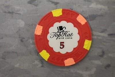 10 Classic Top Hat and Cane Paulson $5 Poker Chip - VERY HARD TO GET