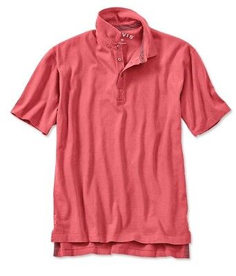 Orvis Mens Surfwashed Short Sleeved Polo Shirt Weathered Red Large FREE SHIPPING