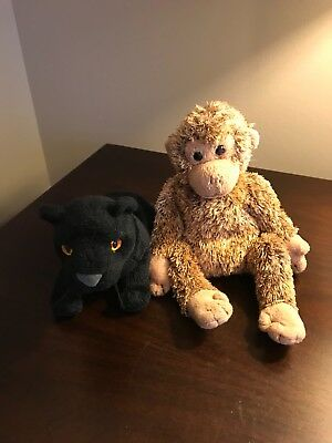 Pair of TY Beanie Babies - Jungle Characters - Black Panther and Monkey