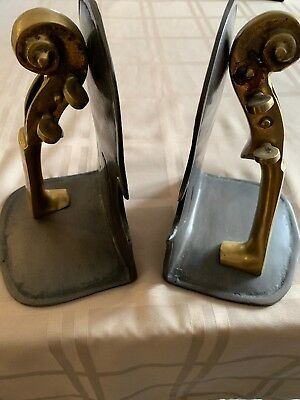 Solid Brass Violin Book Ends Gatco Awesome. Free Shipping