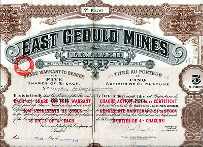 South Africa: EAST GEDULD MINES; five shares