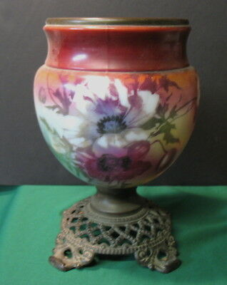 Oil Lamp Hand Painted Floral Cast Iron Base Vase~Antique~ Use as planter or vase