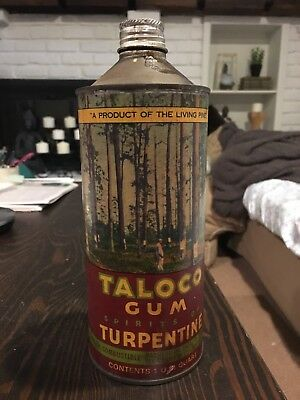Taloco Gum Spirits of Turpentine Vintage Oil Can M.J. Daly Co Inc Paper Label