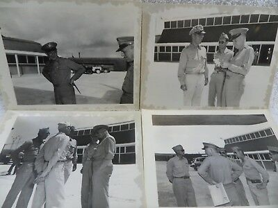 Gen Dwight Eisenhower WW2 Lot of 4 Vintage Snapshot Photos Air Force Base