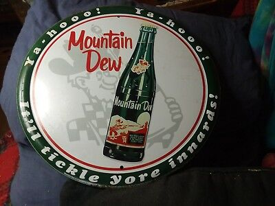 "Mountain Dew Sign Bottle 12"" Round Tin YaHoo Vintage Metal Sign (reproduction)"