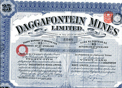 South Africa: DAGGAFONTEIN MINES Limited; 25 shares