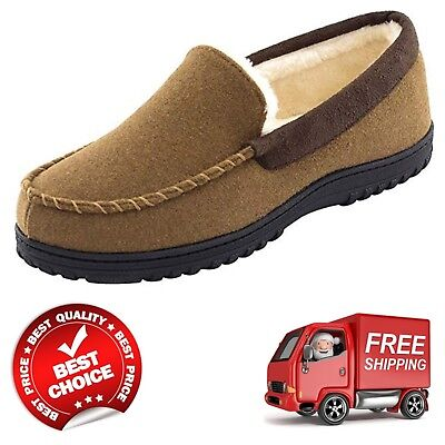Men's Wool Micro Suede Moccasin Slippers US 9 Size Indoor/Outdoor House Shoes