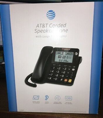 At&t Cl2940  Corded Speakerphone With Large Display & Called Id Black Att Cl2940