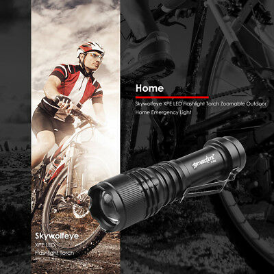 Skywolfeye 300LM XPE LED Flashlight Torch Zoomable for Outdoor Emergency Light