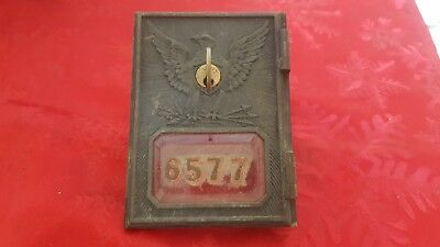 Vintage post office box door (Circa) 1892-1895 Fed Eagle Yale, beveled glass