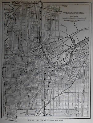 Antique 1914 Atlas City Map World War WWI Newark NJ New Jersey Newcastle England