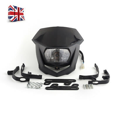 Durable ABS Universal Motorcycle Front 12V H4 Enduro Headlight Head Assembly UK