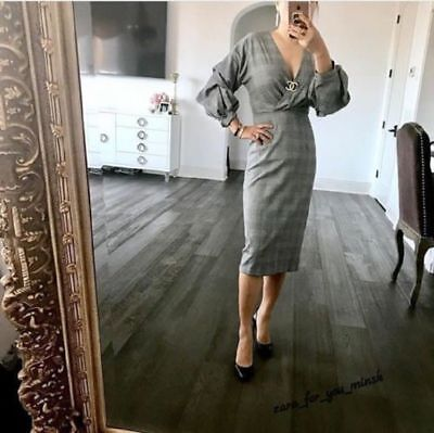 BNWT $69.9 Zara Woman Checked Shift Dress 4437/255 Blogger Favorite Sold Out