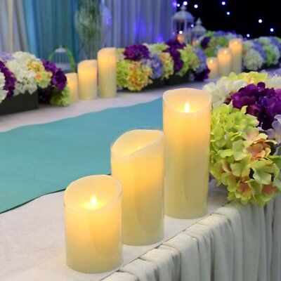 Set of 3 Wax LED Flameless Flickering Dancing Candle Mood Wedding Xmas Lights