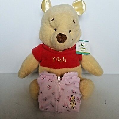 Lot of 2 Classic Pooh Disney Baby Girl Pink One Piece Footed Outfit 0-3 mos Pooh