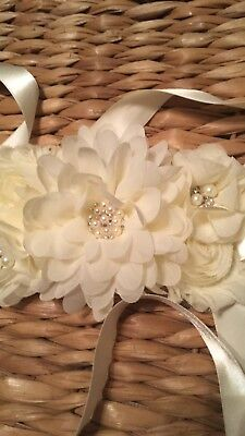 Beautiful Floral Wedding Belt/Sash- Ivory, Silk Flowers, Pearl & Sparkle Accent