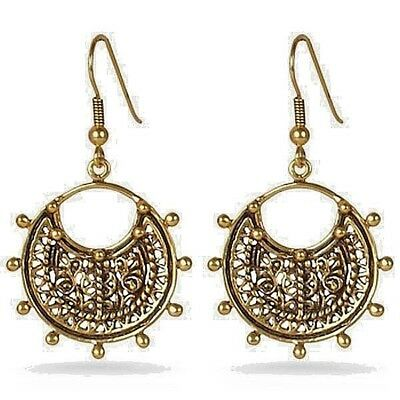 "Byzantine Beaded Earrings Bronze with Gold Finish 1"" Diameter"
