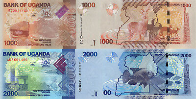 Uganda 2 Note Set: 1000 and 2000 Shillings (2010) - p49a, p50a UNC