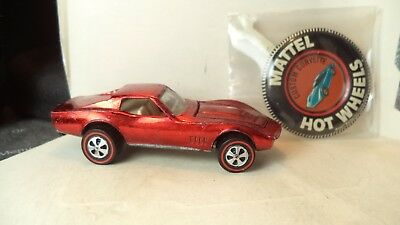 Vintage Hot Wheels Red Lines USA 1968 Custom Corvette [Red] w/button