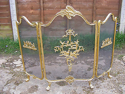 Vintage Rococo Victorian French Style Brass Folding Fire Screen Love Birds